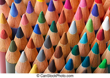 Color pencils background, selective focus