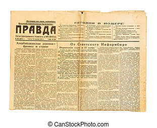 Vintage USSR newspaper - KIEV, UKRAINE - May 10, 2014:...