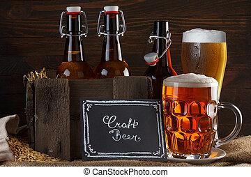 arte, cerveza, vidrio, y, vendimia, cajón,