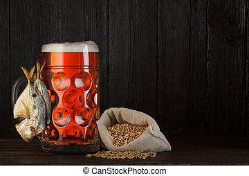 Beer mug beer with smoked fish