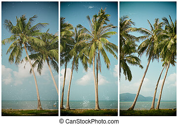 Palm tress on sea shore, vintage stylized and toned