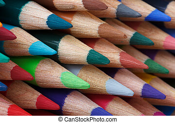 Multi colored pencils macro