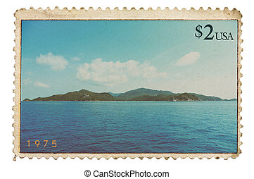 Vintage stylized postage stamp with tropical island on...