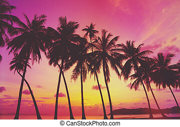 Tropical sunset over sea with palm trees, Thailand Retro...