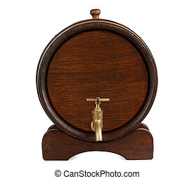 wooden barrel front view - Vintage wooden barrel front view...