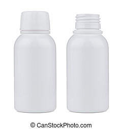 Blank white plastic pill bottle - Blank white plastic pill...