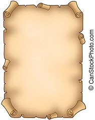 Old torn parchment - color illustration