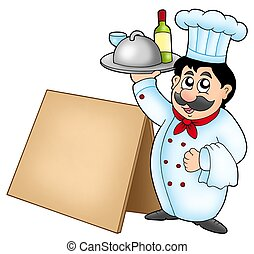 Chef holding meal with wooden table - color illustration.