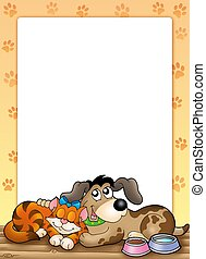 Frame with cute cat and dog - color illustration
