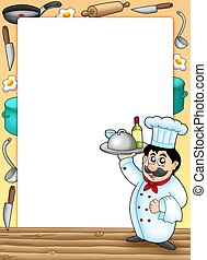 Frame with chef holding meal - color illustration.
