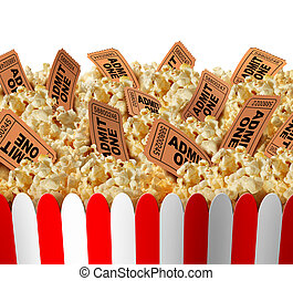 Movie Popcorn Tickets - Movie popcorn tickets border as a...