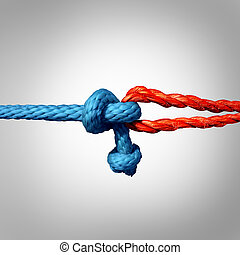 Connected Concept - Connected concept as two different ropes...