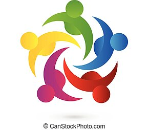 Teamwork meeting people logo - Teamwork meeting business...