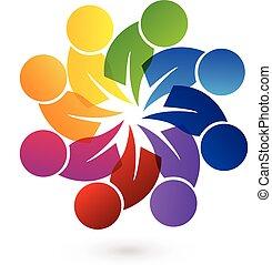 Logo teamwork people - Logo concept of community unity,...