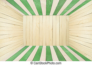 Colorful wood room on wide angle view - Green wood stripe...