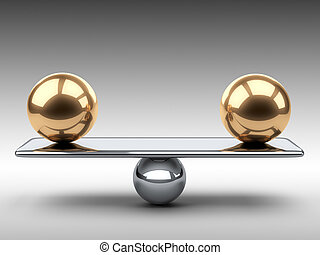 Balance between two large gold spheres.
