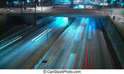 Freeway Overpass Time-lapse - Time-lapse view at night...