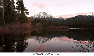 Lassen Peak Manzanita Lake Sunset California National Park -...