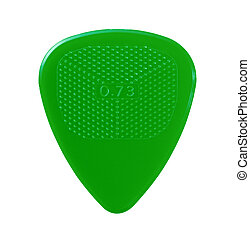 green guitar plectrum isolated on white