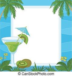 Juice, Kiwi Fruit and Exotic Background