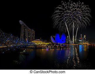 Singapore Fireworks - Fireworks over Marina bay in Singapore...