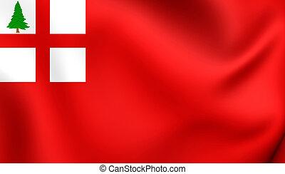 Flag of New England, USA. Close Up.