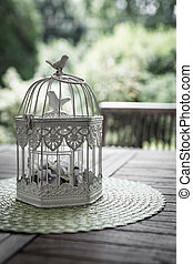 Aviary - An old aviary garden, used as a flower pot.