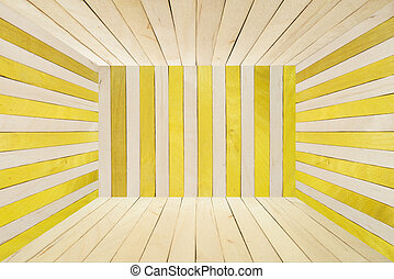 Colorful wood room on wide angle view - Yellow wood stripe...