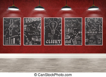3d drawing business concept on posters in room