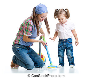 Child little girl and mom cleaning room