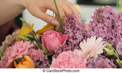 Close-up of a gorgeous spring celebratory bouquet - Close-up...