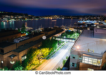View of Lake Union from Lakeview Boulevard at night, in...
