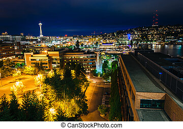 View of South Lake Union from Lakeview Boulevard at night,...