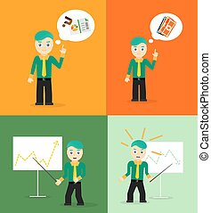 Set of cute cartoon young businessmen. Idea concept and finance report graph