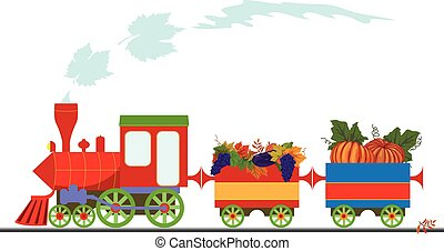autumnal retro locomotive - vector illustration with retro...