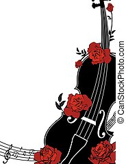 Vector floral musical composition with violin and roses in...