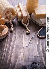 bathroom items massager sponge nailbrush bar of soap on vintage