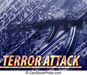 Terror attack Abstract concept digital illustration