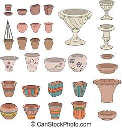 Gardening flowerpots. Pots for plants growing on window...