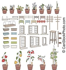 Flower pots with herbs and vegetables.  Plants growing on balcony