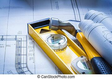 construcción, nivel, algunos, edificio, dibujos, y,...