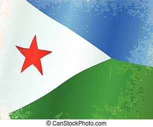 Djibouti Flag Grunge - The flag of the African country of...