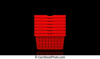 Red Shopping Baskets On Black Background 3D render Animation...