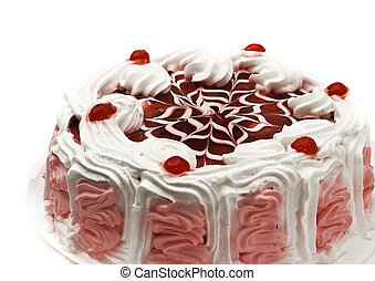 Tasty iced cake with cherries and beautiful red pattern
