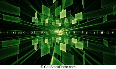 Internet Concept, Green Cubes - binary code data flow,...