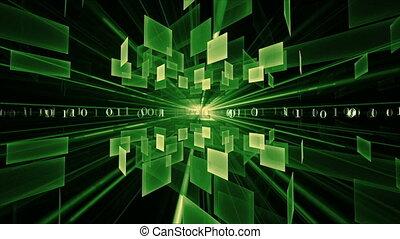 Internet Concept, Green Cubes - binary code data flow,...
