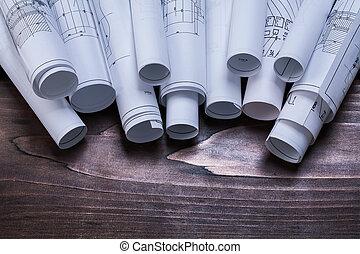 cianotipo, de madera, vendimia, pino, pila, tabla,...