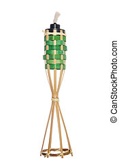 Bamboo torch oil lamp - Bamboo torch lamp isolated on white...