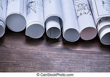 pino, de madera, vendimia, tabla, con, Pila, de, cianotipo,...