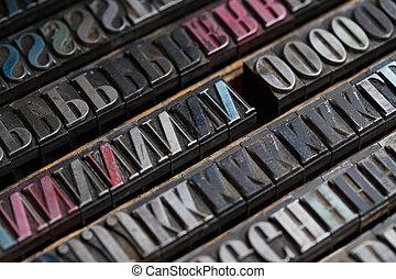 Metal printing press letters - Old vintage metal printing...